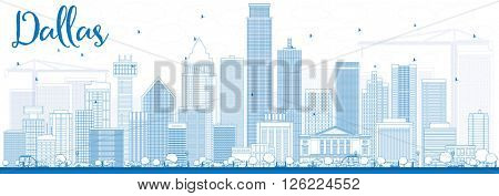 Outline Dallas Skyline with Blue Buildings. Business Travel and Tourism Concept with Modern Buildings. Image for Presentation Banner Placard and Web Site.