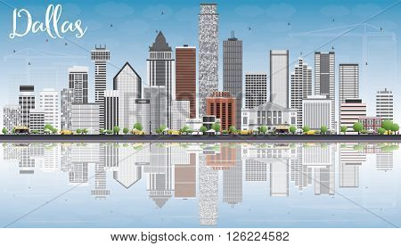 Dallas Skyline with Gray Buildings, Blue Sky and Reflections. Business Travel and Tourism Concept with Modern Buildings. Image for Presentation Banner Placard and Web Site.