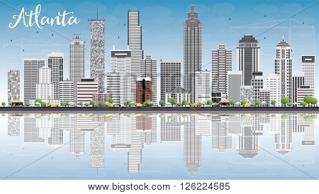 Atlanta Skyline with Gray Buildings, Blue Sky and Reflections. Business Travel and Tourism Concept with Modern Buildings. Image for Presentation Banner Placard and Web Site.