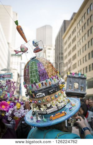 NEW YORK - MAR 27 2016: Close up of a bonnet of NYC transportation symbols worn by a parade goer on 5th Avenue on Easter Sunday for the traditional Easter Bonnet Parade in Manhattan on March 27, 2016.