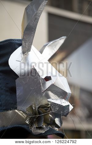 NEW YORK - MAR 27 2016: Close up of a silver rabbit head Easter bonnet worn by a parade goer on 5th Avenue on Easter Sunday for the traditional Easter Bonnet Parade in Manhattan on March 27, 2016.