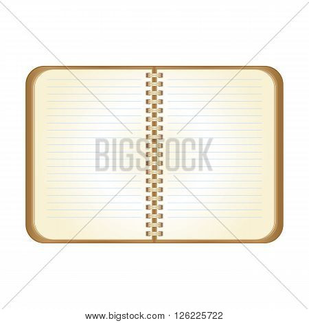 Open brown notepad for notes and remarks