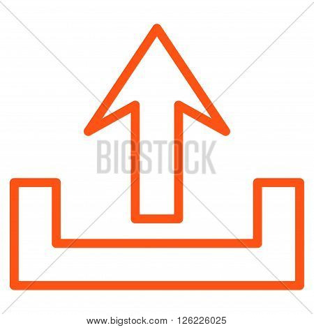 Upload vector icon. Style is thin line icon symbol, orange color, white background.