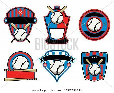 A set of baseball and bat emblems badges and patches. Vector EPS 10 available.
