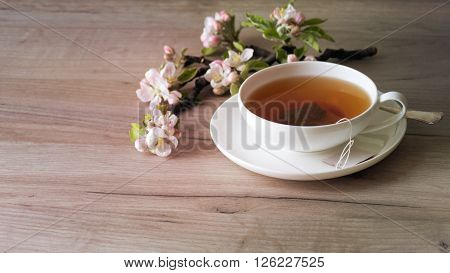 Cup Of Tea On Wooden Table, Selective Focus