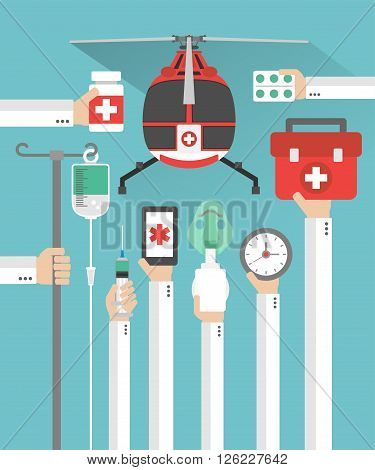 Medical helicopter flat design card with hand .Vector illustration