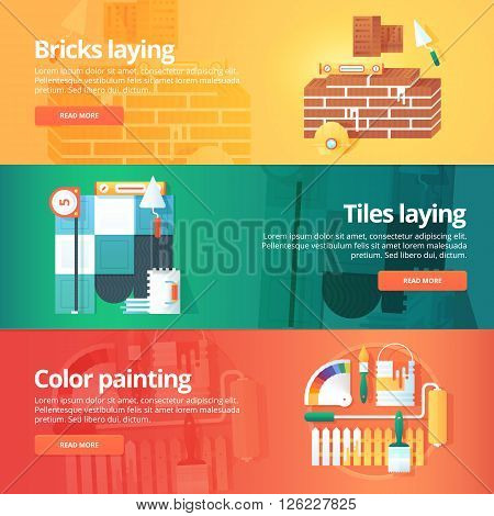 Construction and building banners set. Flat illustrations on the theme of brick and tiles laying work, decorative color painting. Vector design concept.