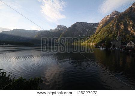 Dawn At Hallstatt, Region Of Salzkammergut, Alps, Austria