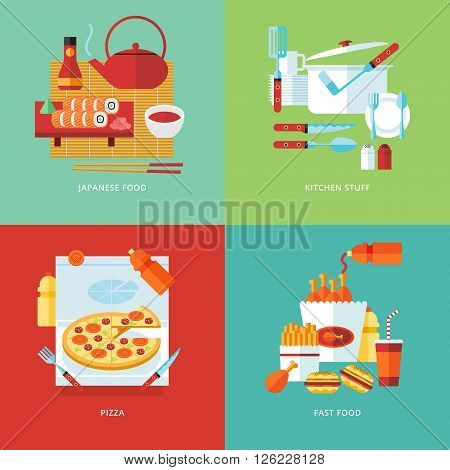 Food and kitchen concept illustration. Japanese sushi food, tableware, pizza food. Fast food. Cooking meal. Type of food. Flat vector design banners.