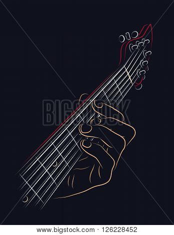 Playing guitar chord color line art illustration