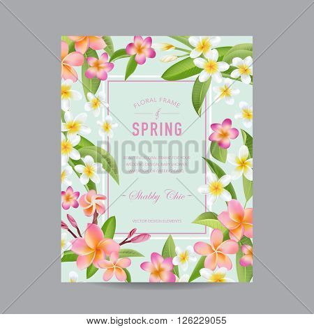 Tropical Floral Colorful Frame - for Invitation, Wedding, Baby Shower Card - in vector