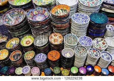 Turkish Ceramics in Grand Bazaar Istanbul City Turkey