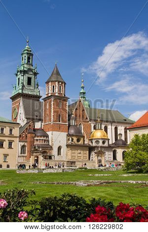 View of the Wavel Castle and Cathedral of St. Wenceslas and Stanislaus in Krakow Poland