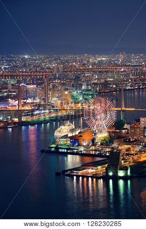 Osaka urban city at night rooftop view. Japan.