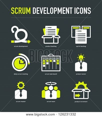 Scrum development methodology icons white-lime on dark grey background