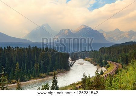 Mountain river and railway in Banff National Park
