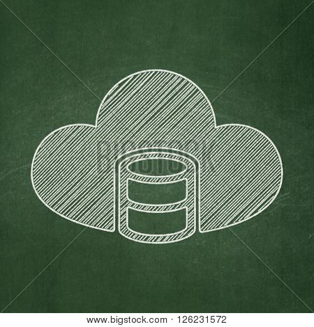 Database concept: Database With Cloud on chalkboard background