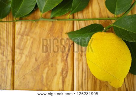 Fresh lemon with leaves on olive wooden background copy space