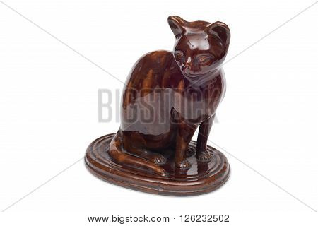 Cut-out of a brown cat figurine or curio