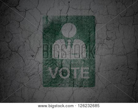 Political concept: Ballot on grunge wall background