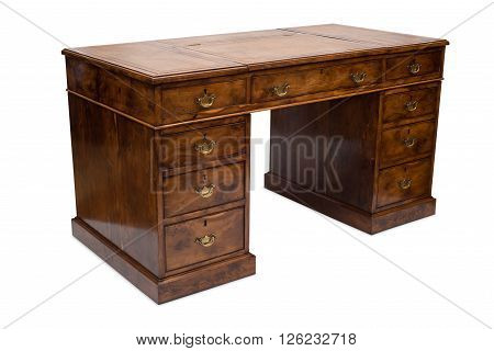 An Old Solid Wood Pedestal Desk