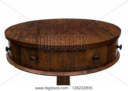 Side Drawers And Top Of A Vintage Drum End Table