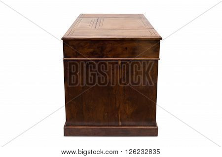 Side Of An Antique Wooden Office Desk