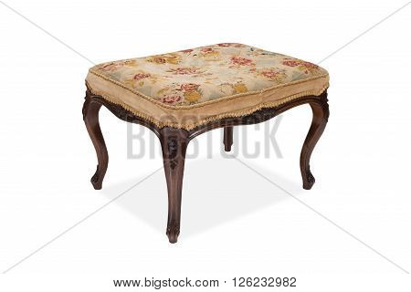 An Antique Upholstered Wooden Stool
