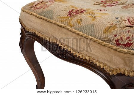 Stitched Cushion Cover Of An Antique Stool Seat