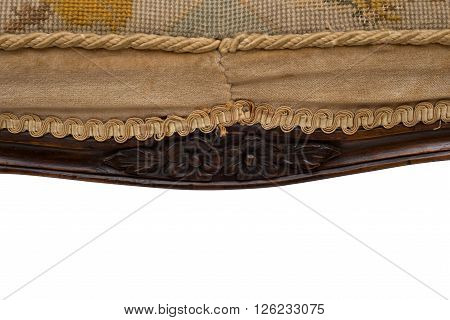 Closeup Of Seat And Apron With Hand-carved Design Of Antique Stool