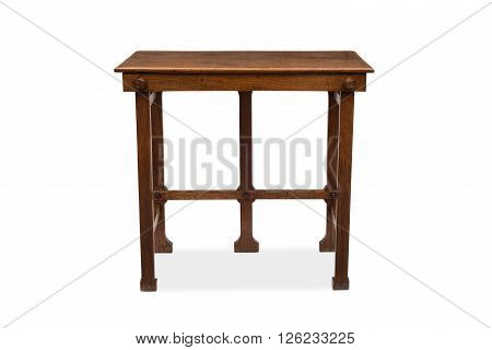 Front View Of A Five-legged Antique Wooden Side Table