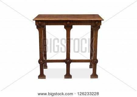 Rear View Of A Five-legged Antique Wooden Side Table