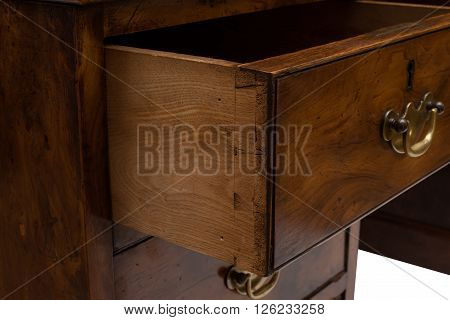 Closeup Of An Ajar Drawer Of An Antique Office Table