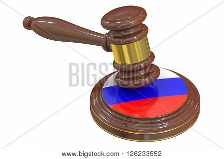 Wooden Gavel with Flag of Russia 3D rendering