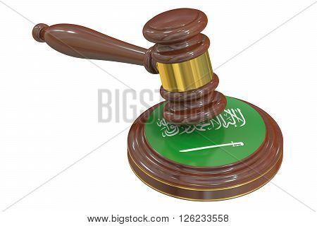 Wooden Gavel with Flag of Saudi Arabia 3D rendering