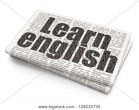 Studying concept: Learn English on Newspaper background