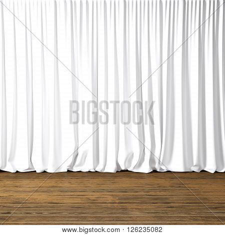 Concept picture of highly detailed white curtains. Photo of backstage with textile curtains and wood floor. Abstract interior background. Square mockup. 3d rendering
