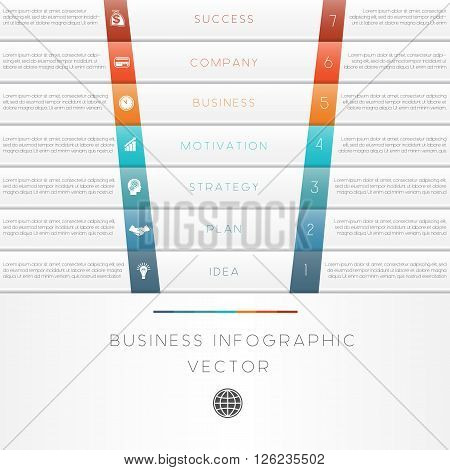 Vector illustration template of business infographic numbered seven position
