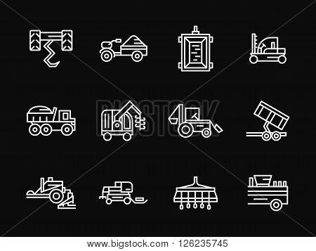 Combines. tractors, harvester and other farming machines. Automated agricultural work. Set of white simple line vector icons on black background. Web design elements for site, business, mobile app.