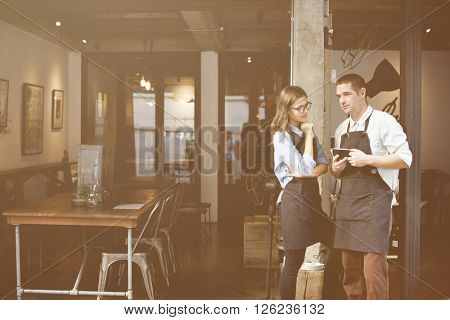 Barista Partner Working Coffee Shop Apron Day Concept