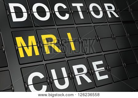 Health concept: MRI on airport board background