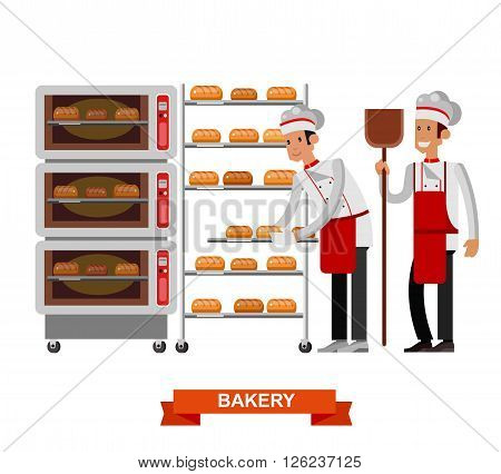 Vector detailed characters chef, Cook baker cooking bread, bakery interior with professional oven, flat design vector illustration isolated on white background.