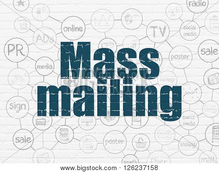 Advertising concept: Mass Mailing on wall background