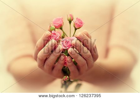 Woman hands with beautiful bouquet of roses, close up