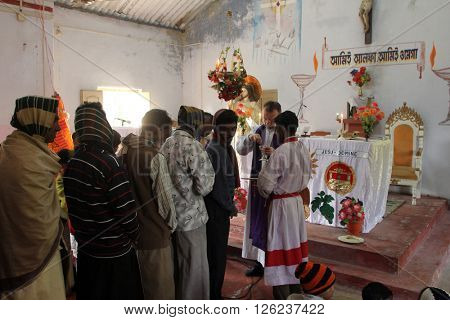 BAIDYAPUR, INDIA - DECEMBER 02: Mass in the Catholic Church in Baidyapur, West Bengal, India on December 02, 2012.
