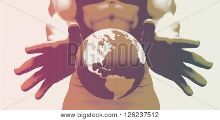 Globalization and a Global Company with Hands Showing World 3D Illustration Render