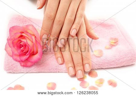 Woman hands with beautiful rose and petals on towel, close up