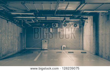 Indoor or underground car park at modern building