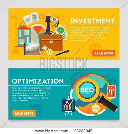 Investment and Optimization concepts. Horizontal vector banners