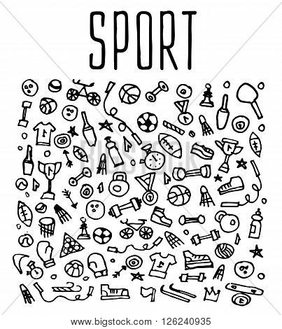 Hand drawn Sport and fitness elements, seamless logo, Sport and fitness doodles elements, Sport and fitness seamless background. Sport and fitness sketchy illustration